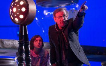 """Spielberg durante el rodaje de """"Mi gran amigo gigante""""."""